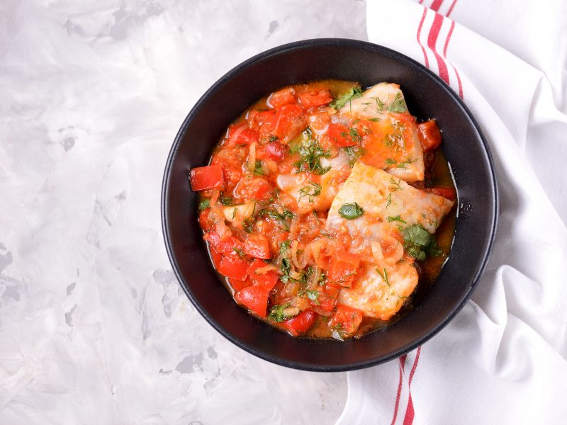Mediterranean Monkfish Vegetable Bean Stew